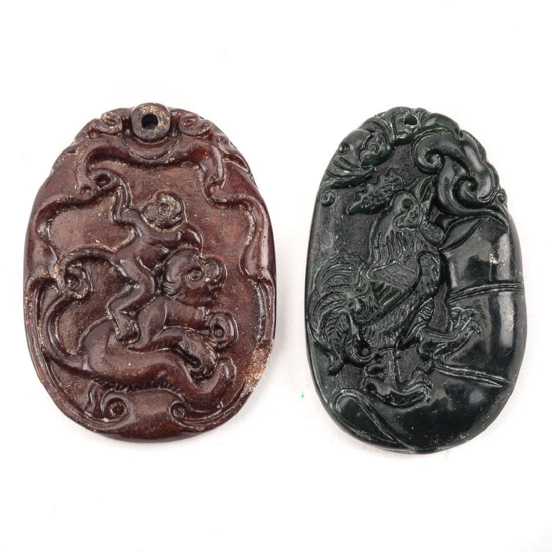 Six Chinese carved jade pendants - 4
