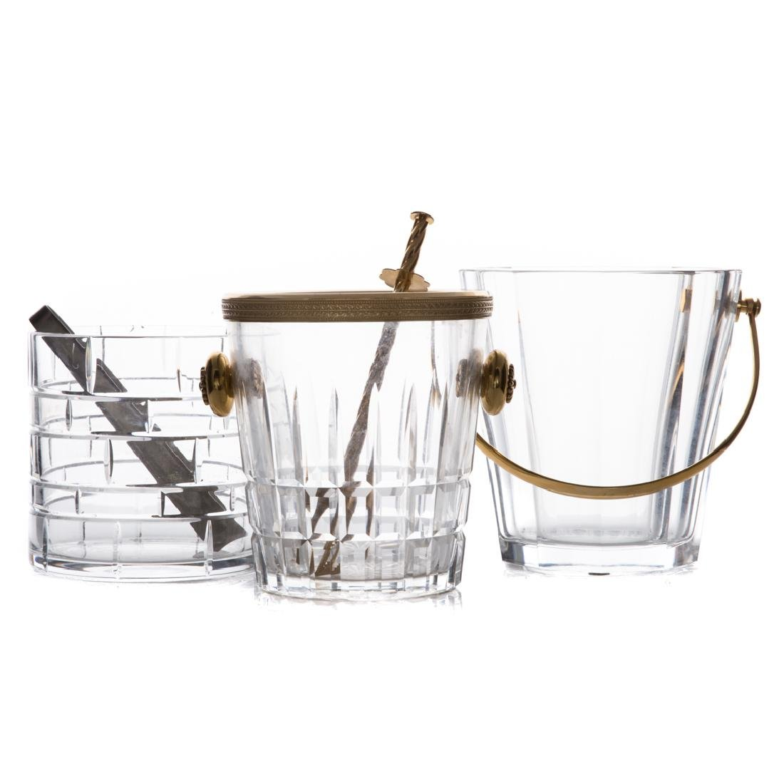 Three crystal ice buckets