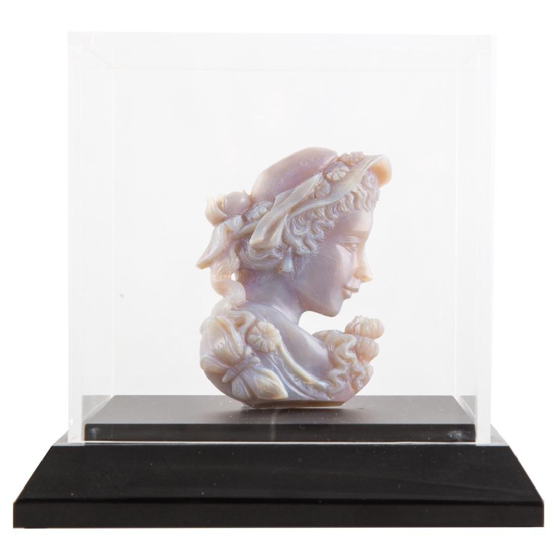 Carved lavender hardstone female relief bust