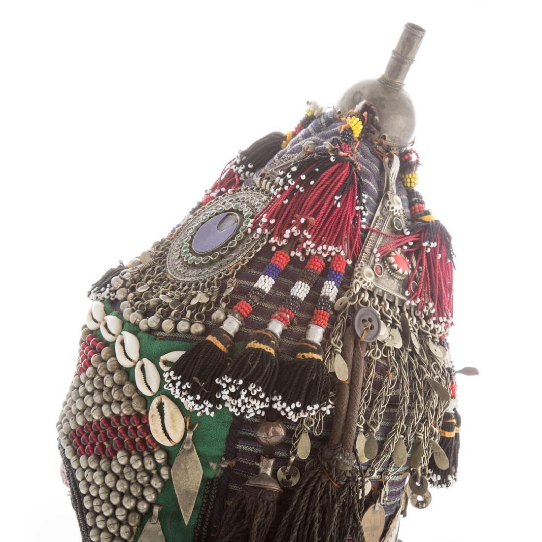 Tribal cloth, bead, and applied object headdress - 2