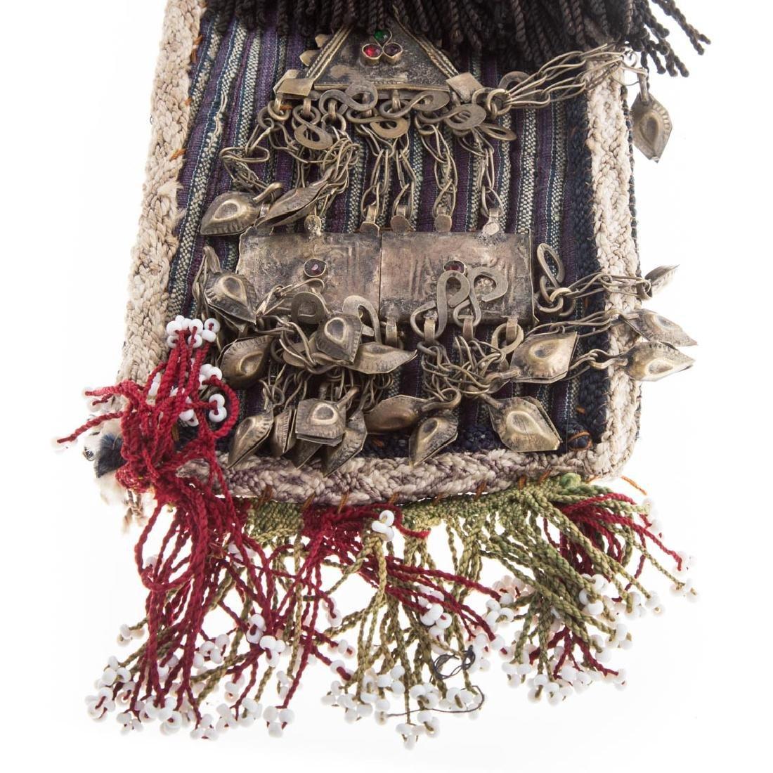 Tribal cloth, bead, and applied object headdress - 3