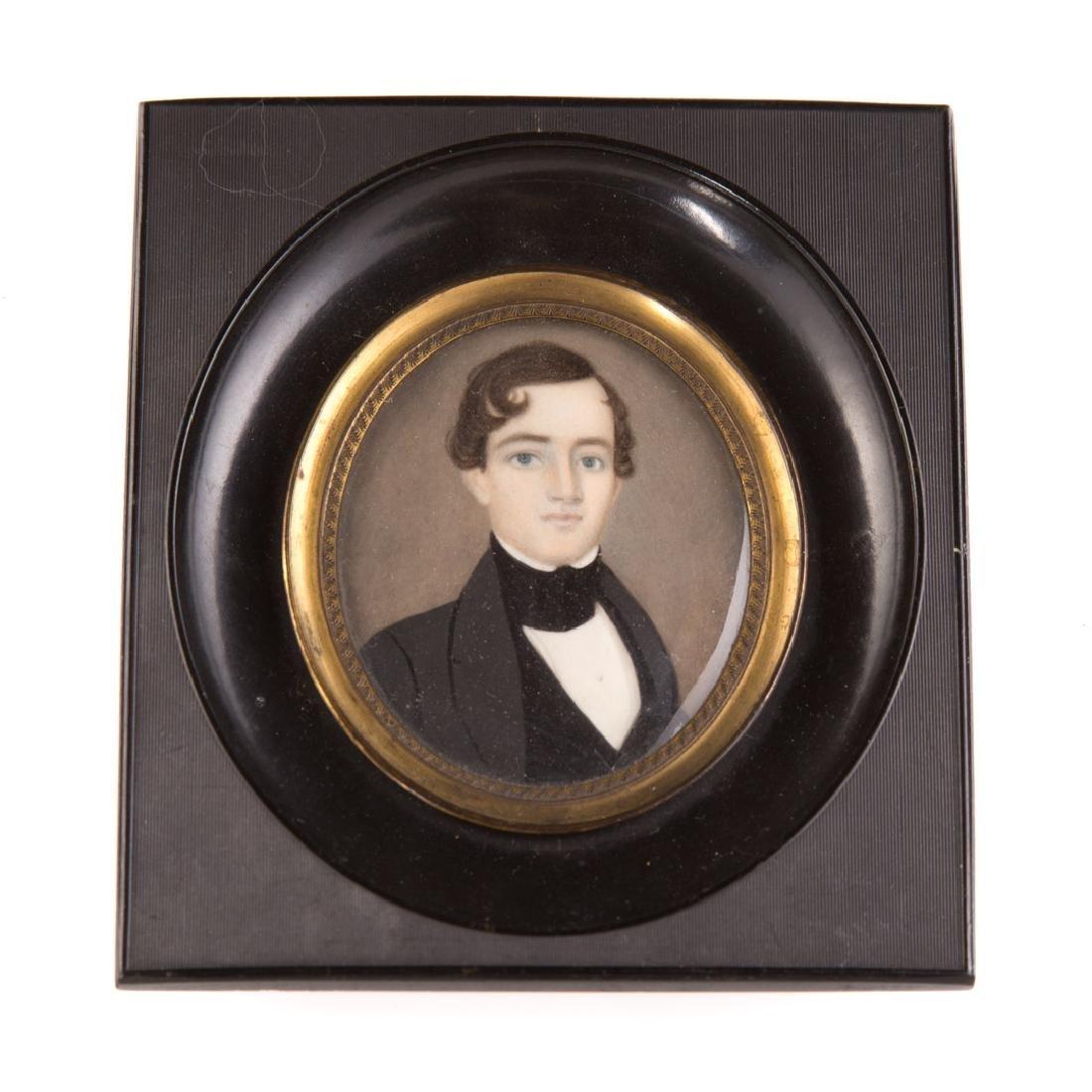 American School, 19th century portrait miniature