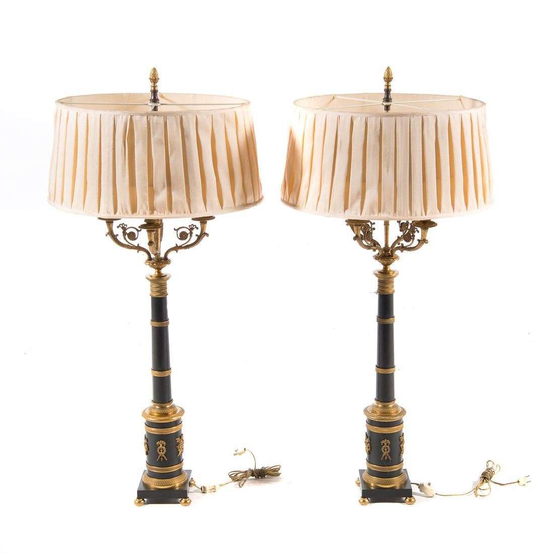 Pair French Empire style bronze lamps
