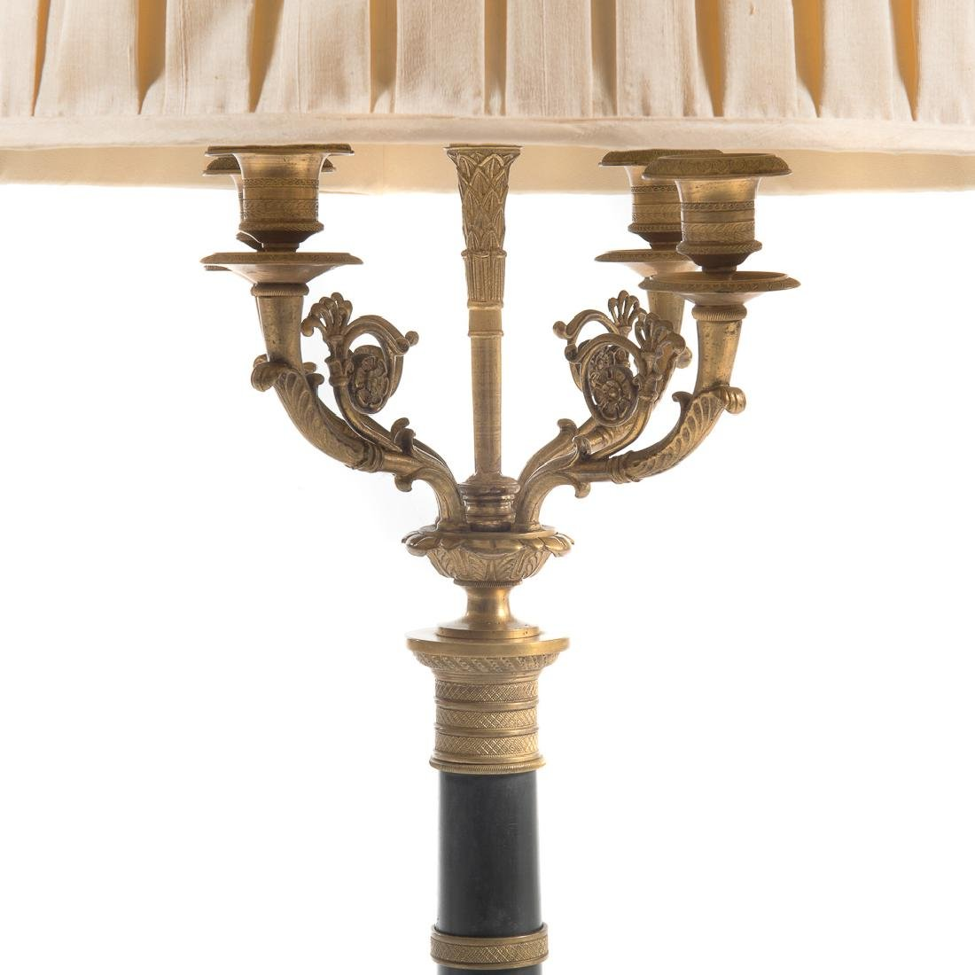 Pair French Empire style bronze lamps - 3