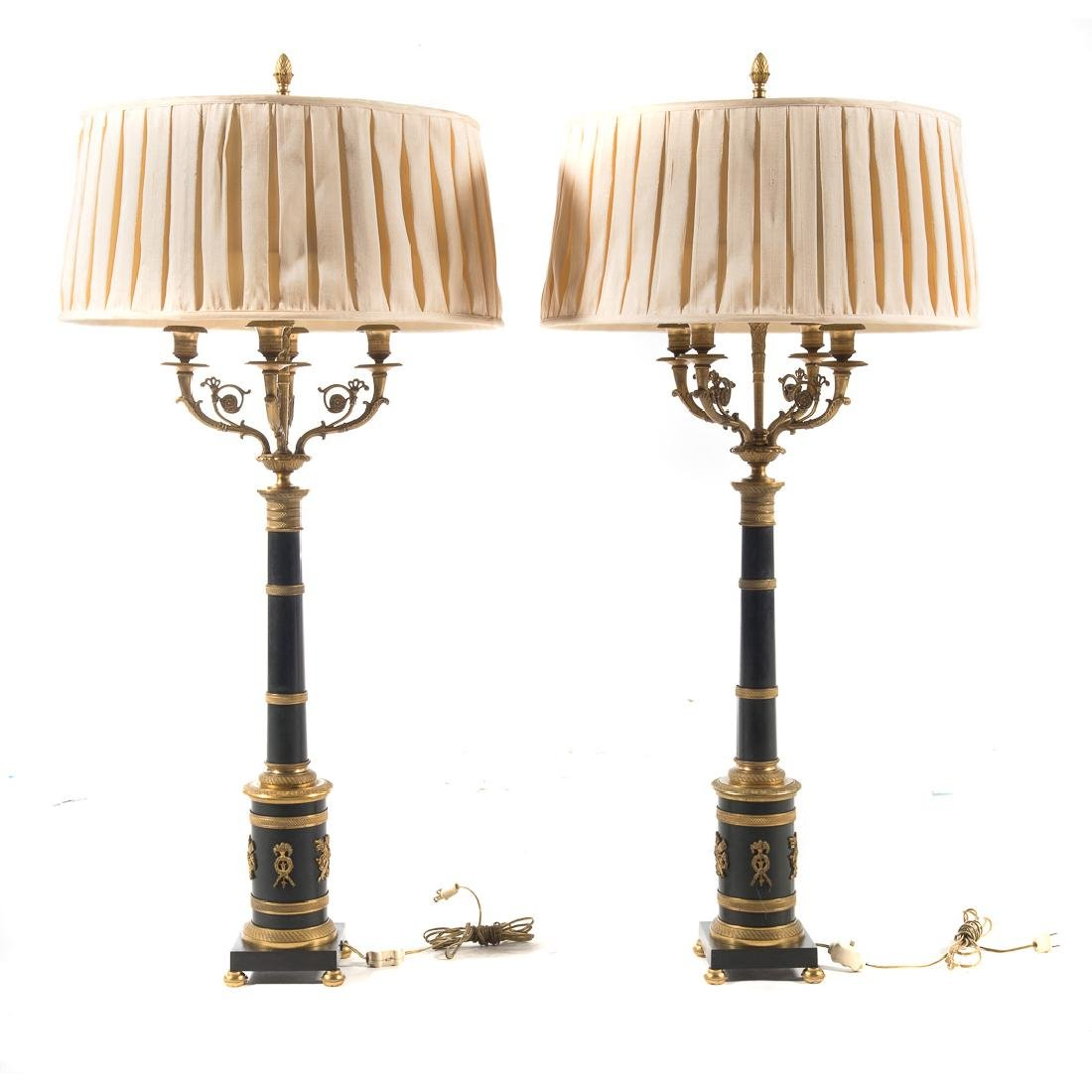 Pair French Empire style bronze lamps - 4