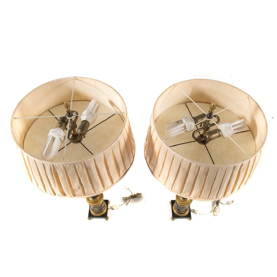 Pair French Empire style bronze lamps - 5