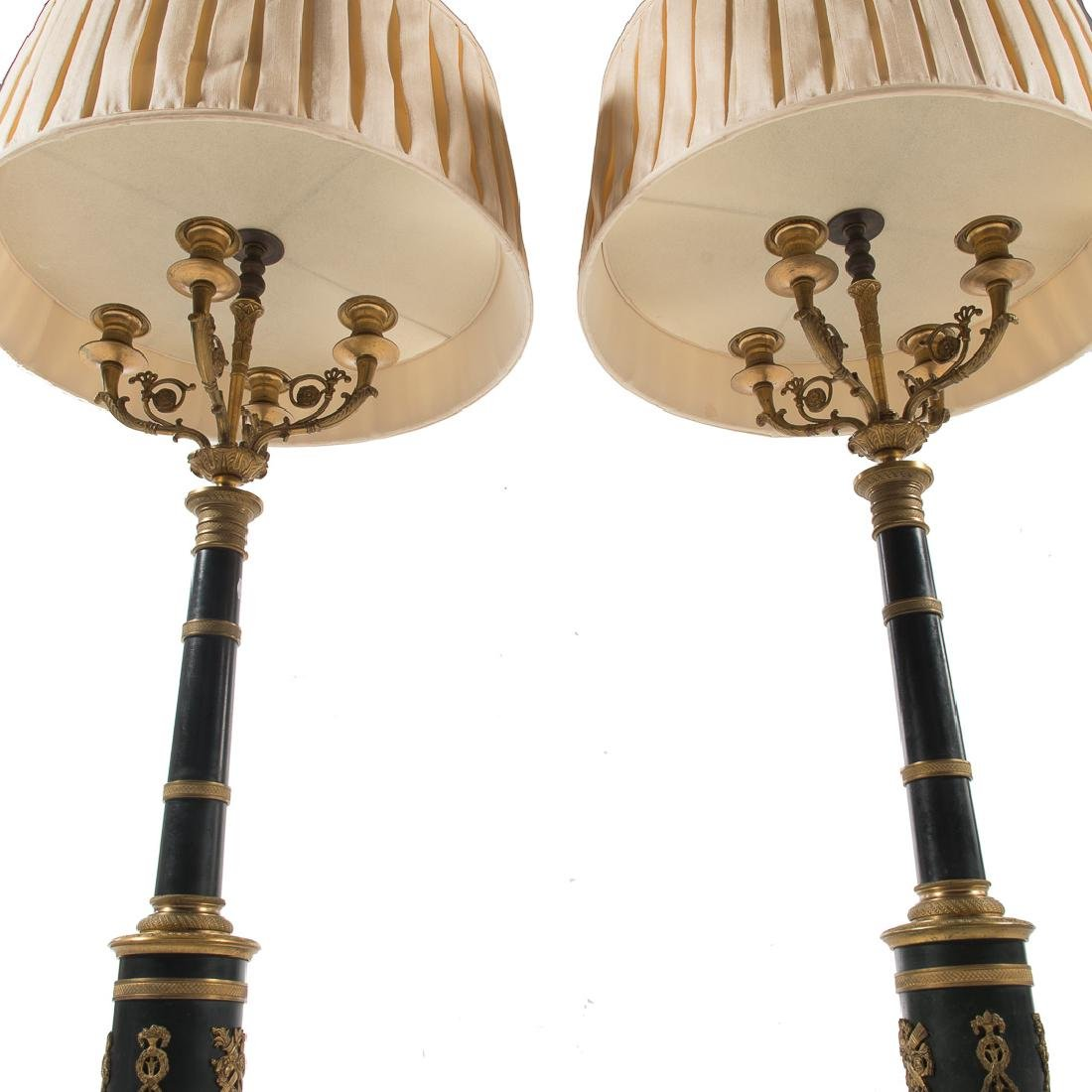 Pair French Empire style bronze lamps - 7