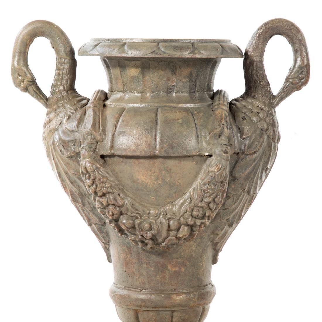 Pair classical style cast iron garden urns - 2