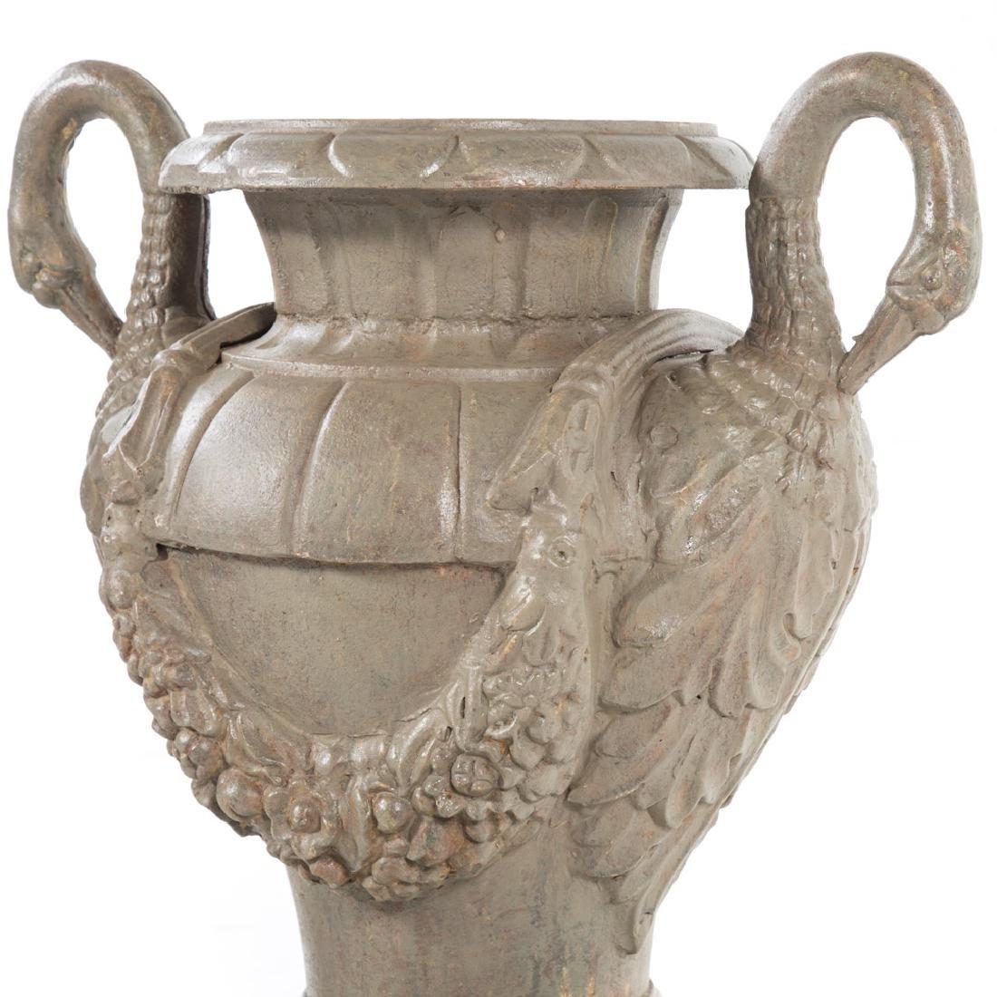 Pair classical style cast iron garden urns - 3