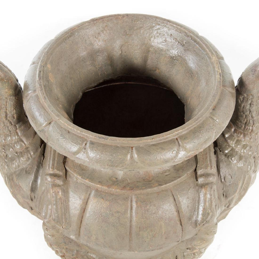 Pair classical style cast iron garden urns - 4