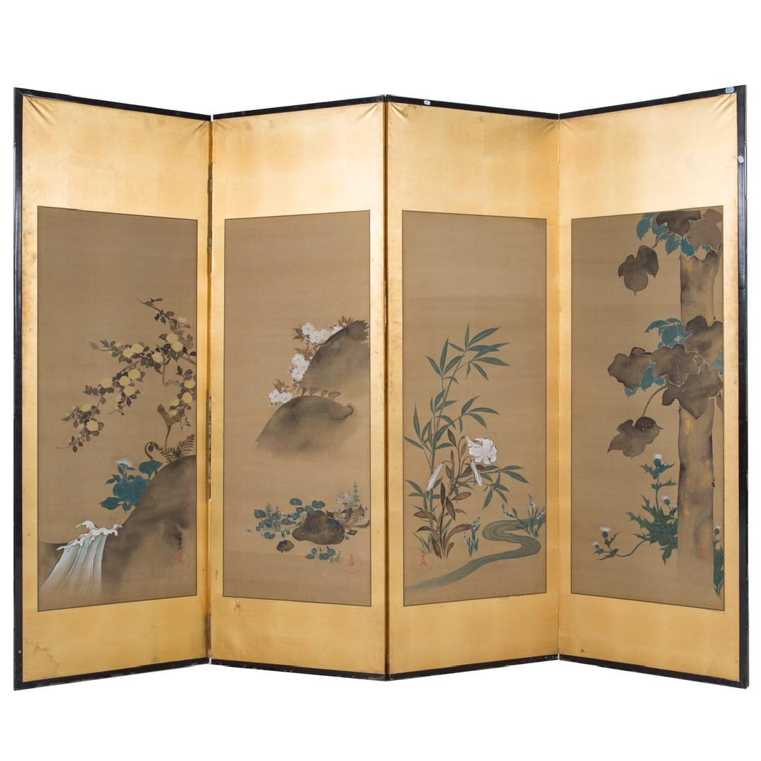 Japanese four-panel room screen