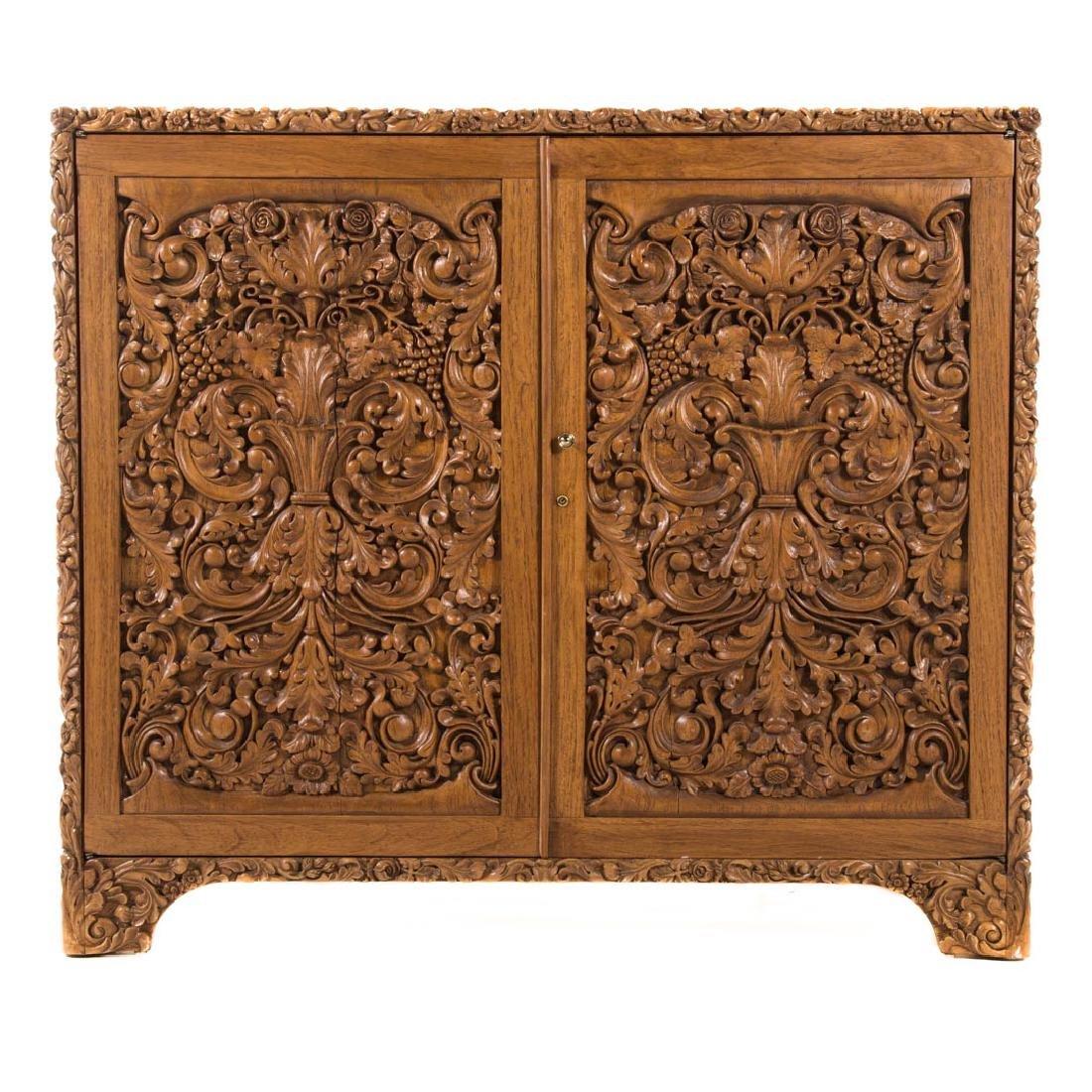 Chinese carved teakwood desk