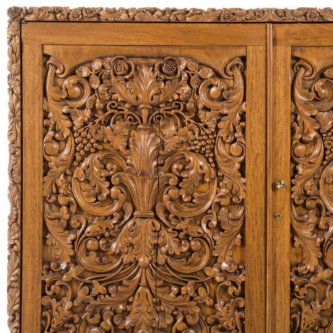 Chinese carved teakwood desk - 2