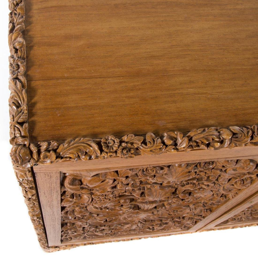 Chinese carved teakwood desk - 3