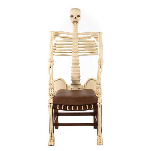 carved and painted wood skeleton chair