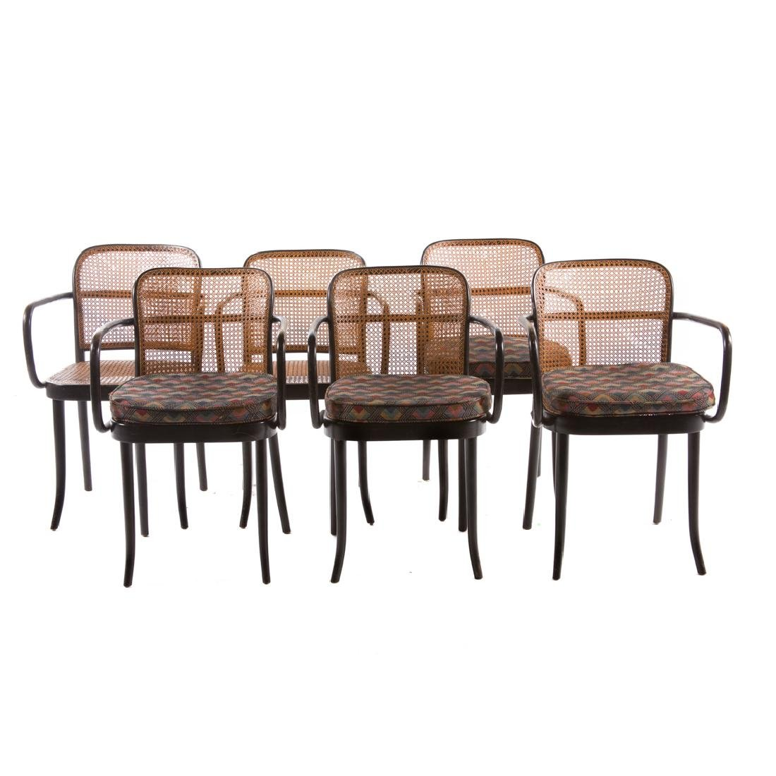 Six Stendig bentwood caned Prague armchairs