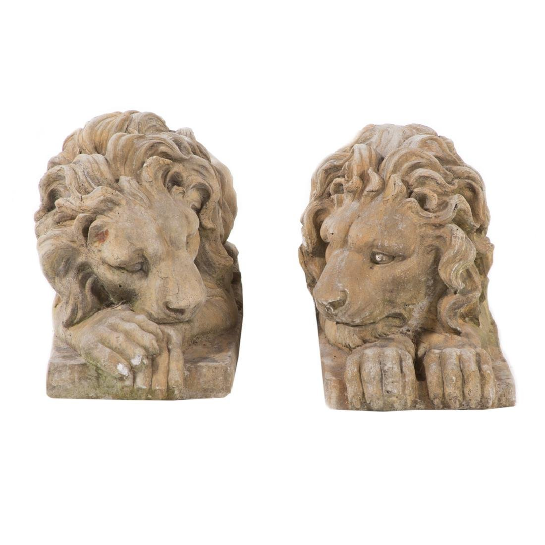 Pair of poured stone lions