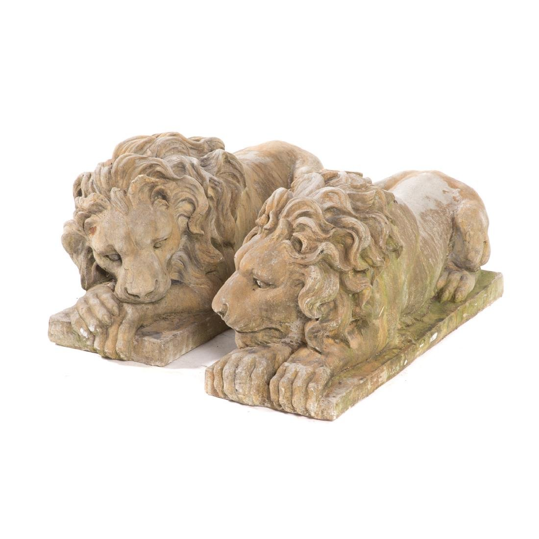Pair of poured stone lions - 2