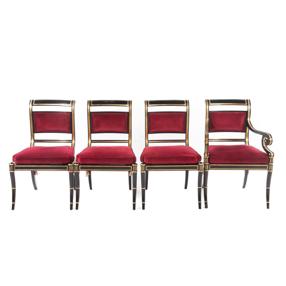 10 Baker Regency style ebonized/gilt dining chairs - 2