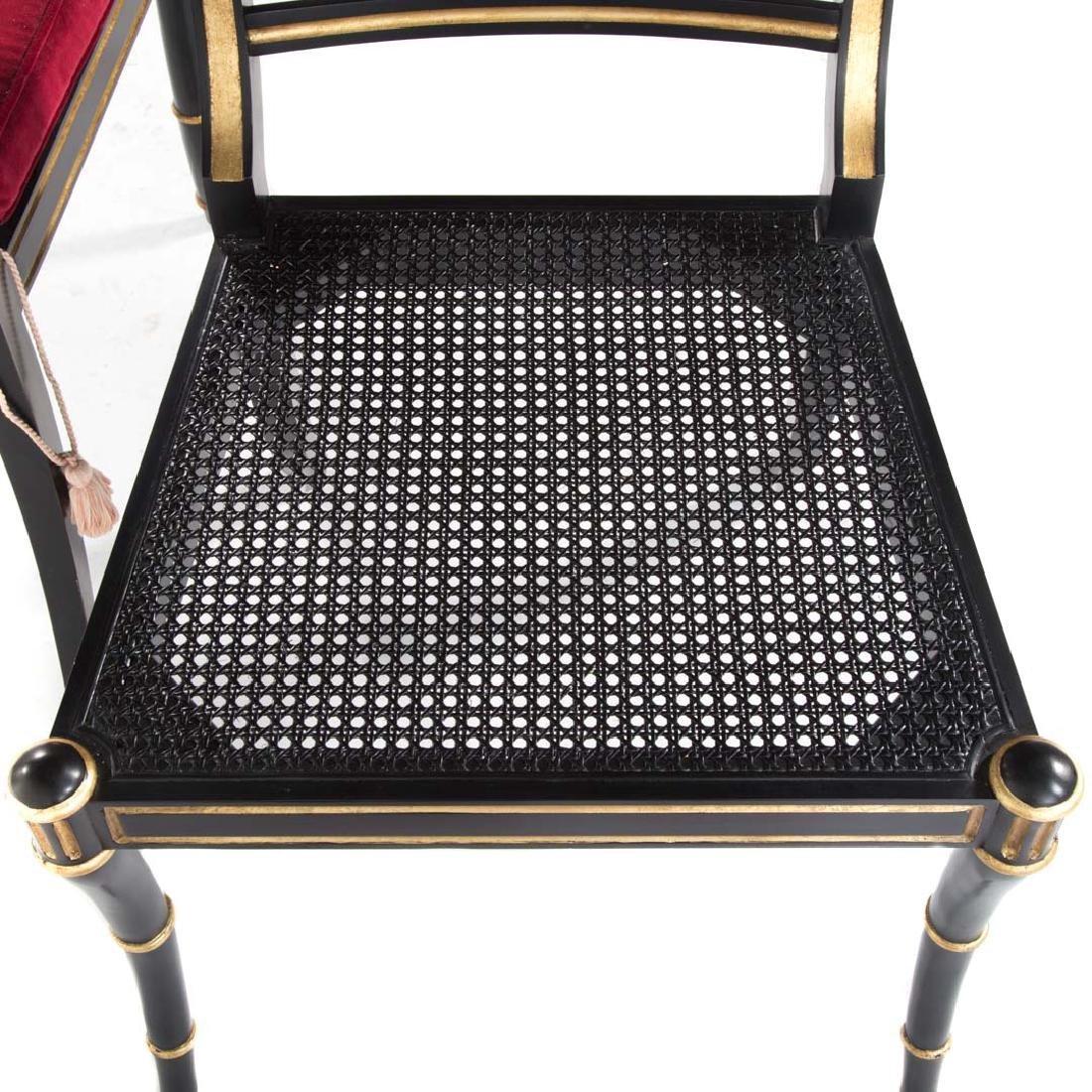 10 Baker Regency style ebonized/gilt dining chairs - 4