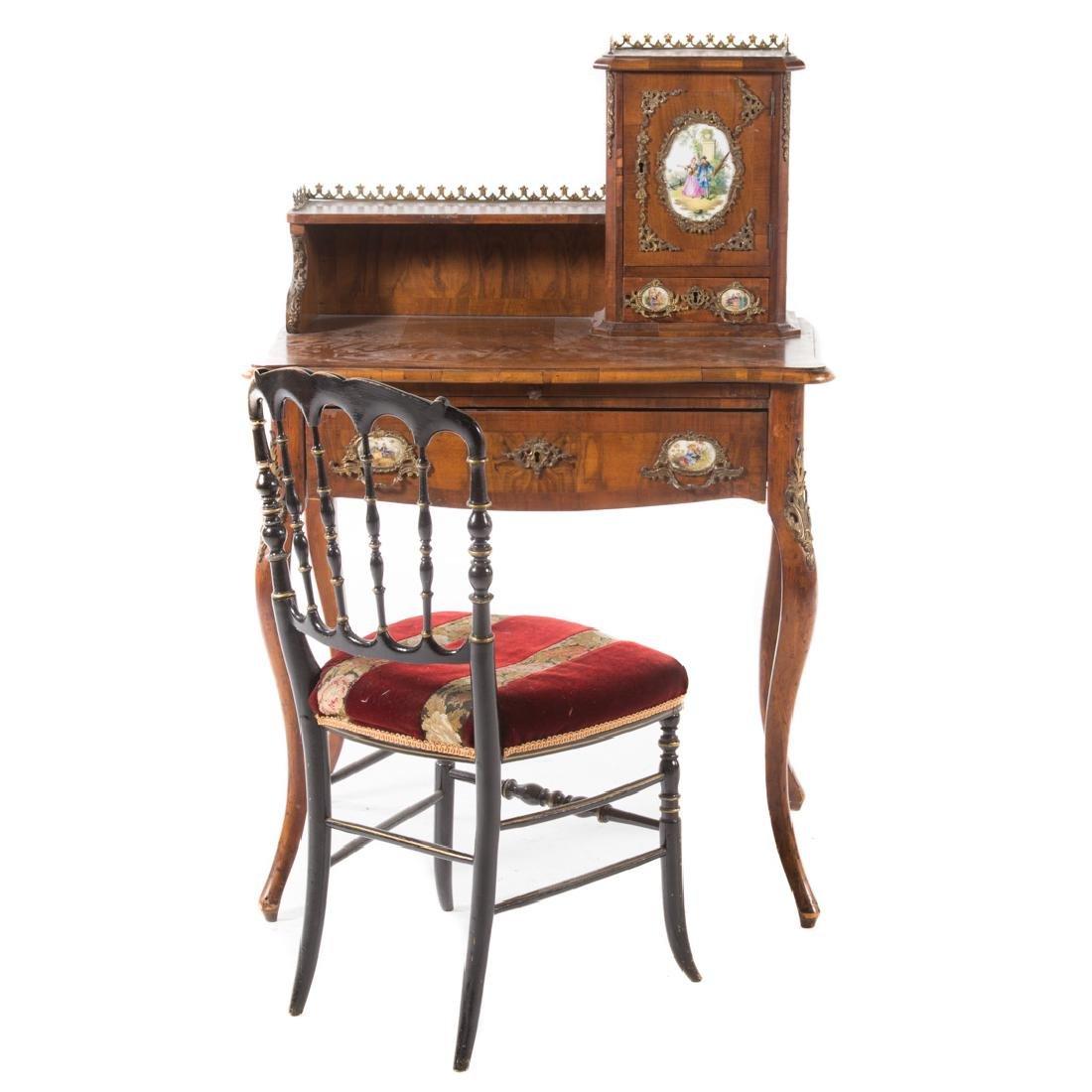 Napoleon III walnut veneer writing desk