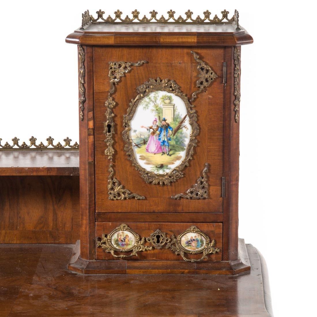 Napoleon III walnut veneer writing desk - 2