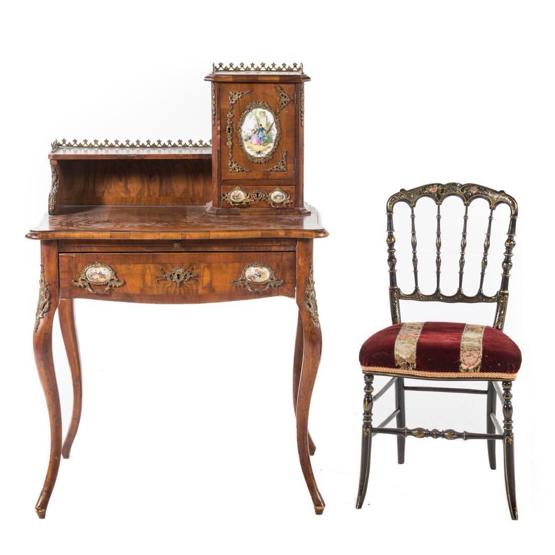 Napoleon III walnut veneer writing desk - 3