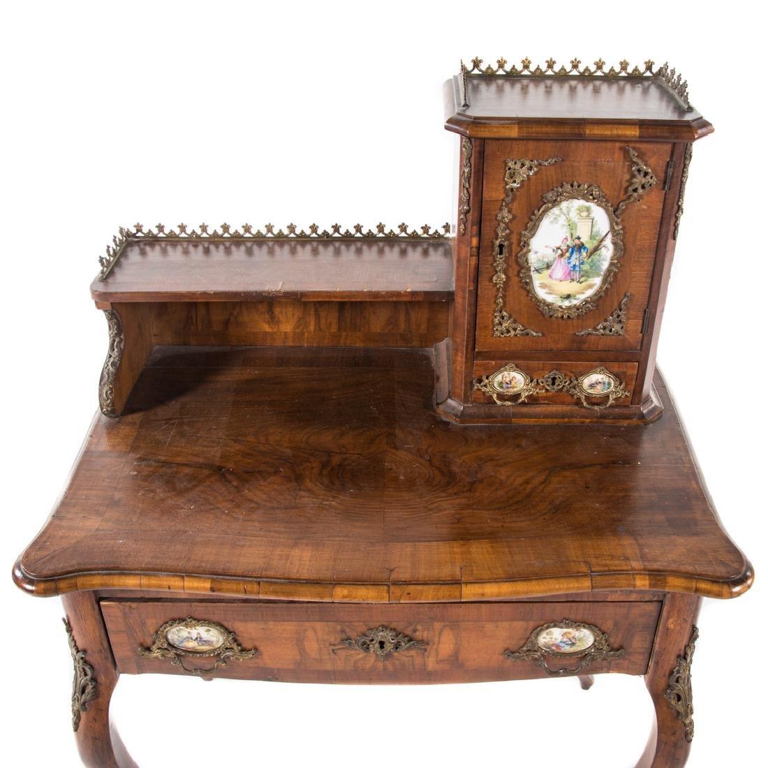 Napoleon III walnut veneer writing desk - 6