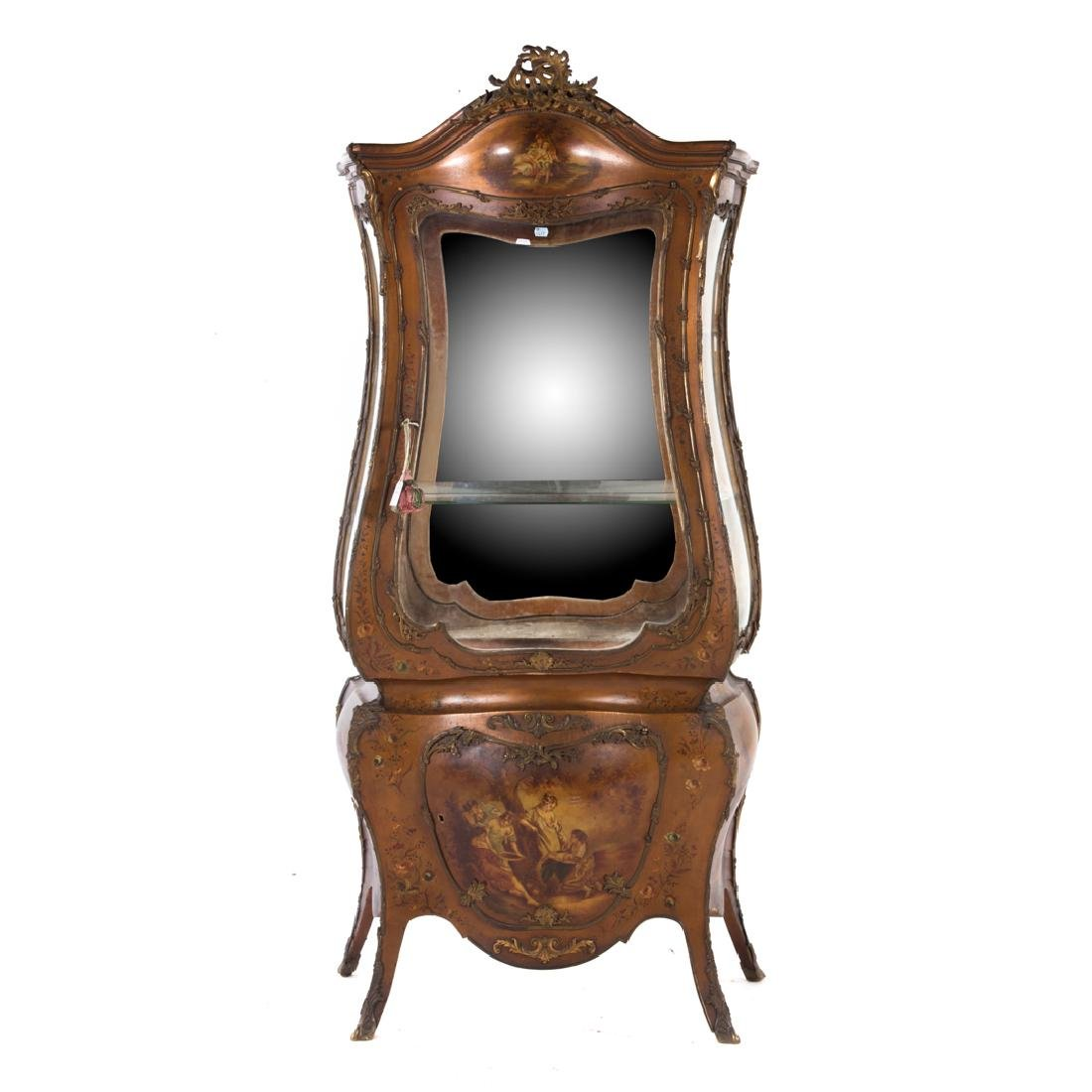 Louis XV style bombe Vernis Martin vitrine