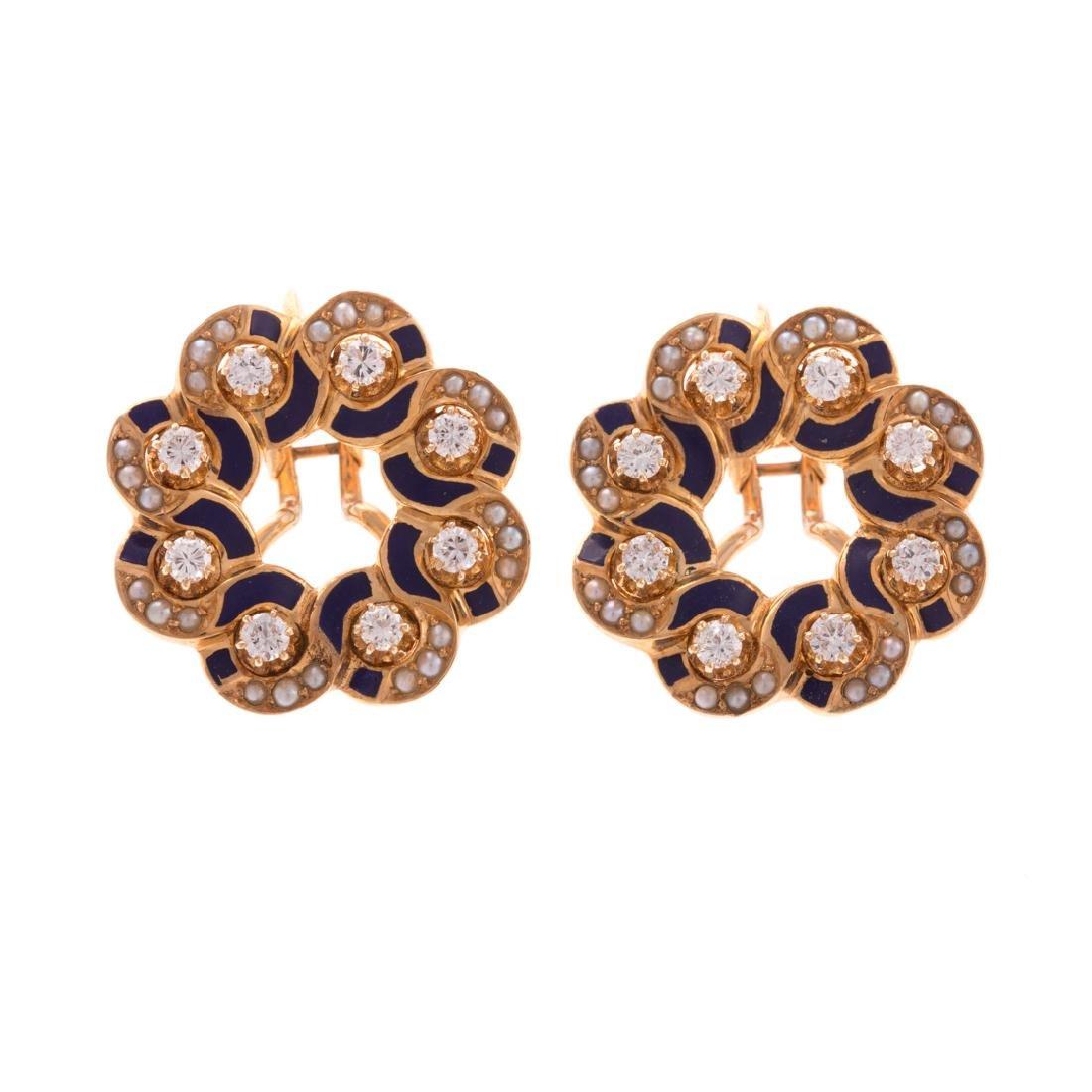 A Pair of Vintage 14K Enamel & Diamond Earrings