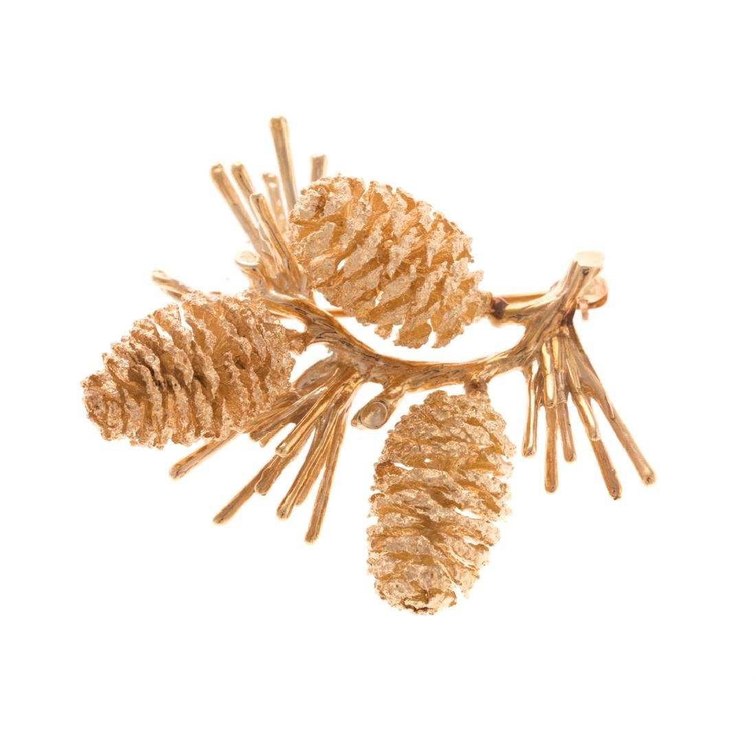 A Lady's Solid Gold Pinecone Brooch