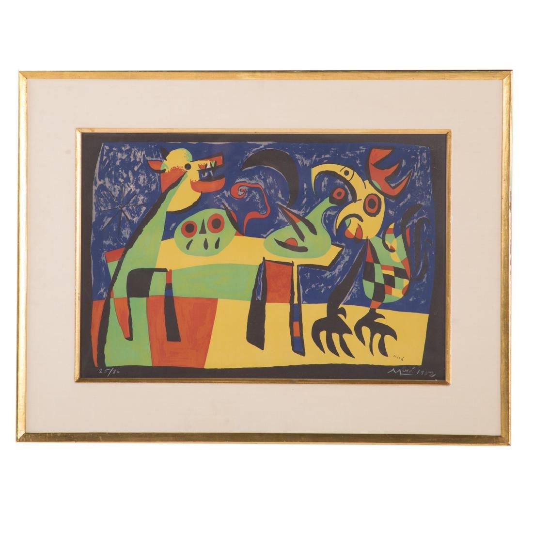 "Joan Miro. ""Chien Aboyant a la Lune,"" lithograph"