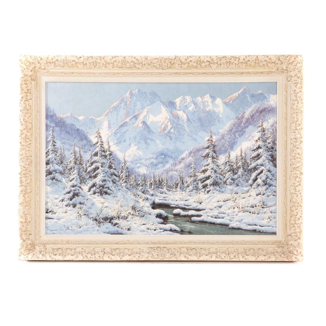 Laszlo Neogrady. Alpine Winter Landscape, oil