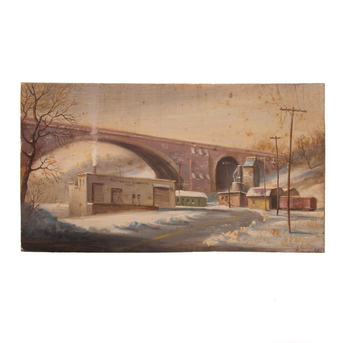 Melvin Miller. Bridge by Railroad, oil on masonite