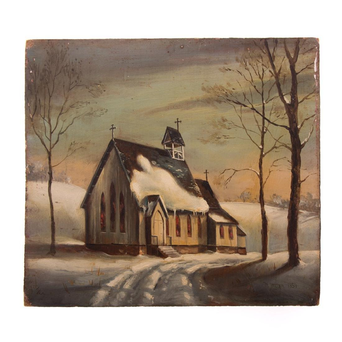 Melvin Miller. Church in Winter, oil on masonite