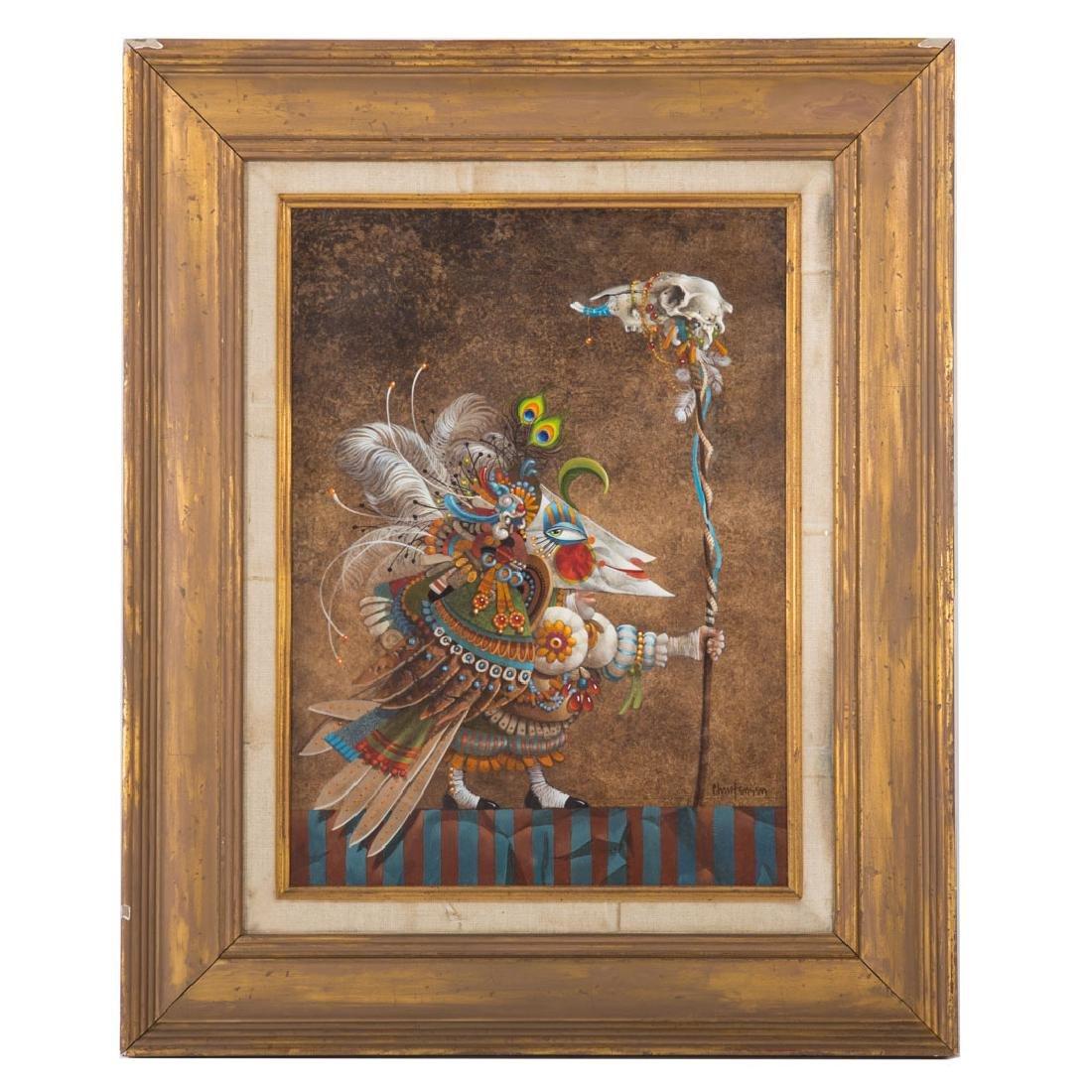 "James Christensen. ""Man in a Bird Mask,"" oil"