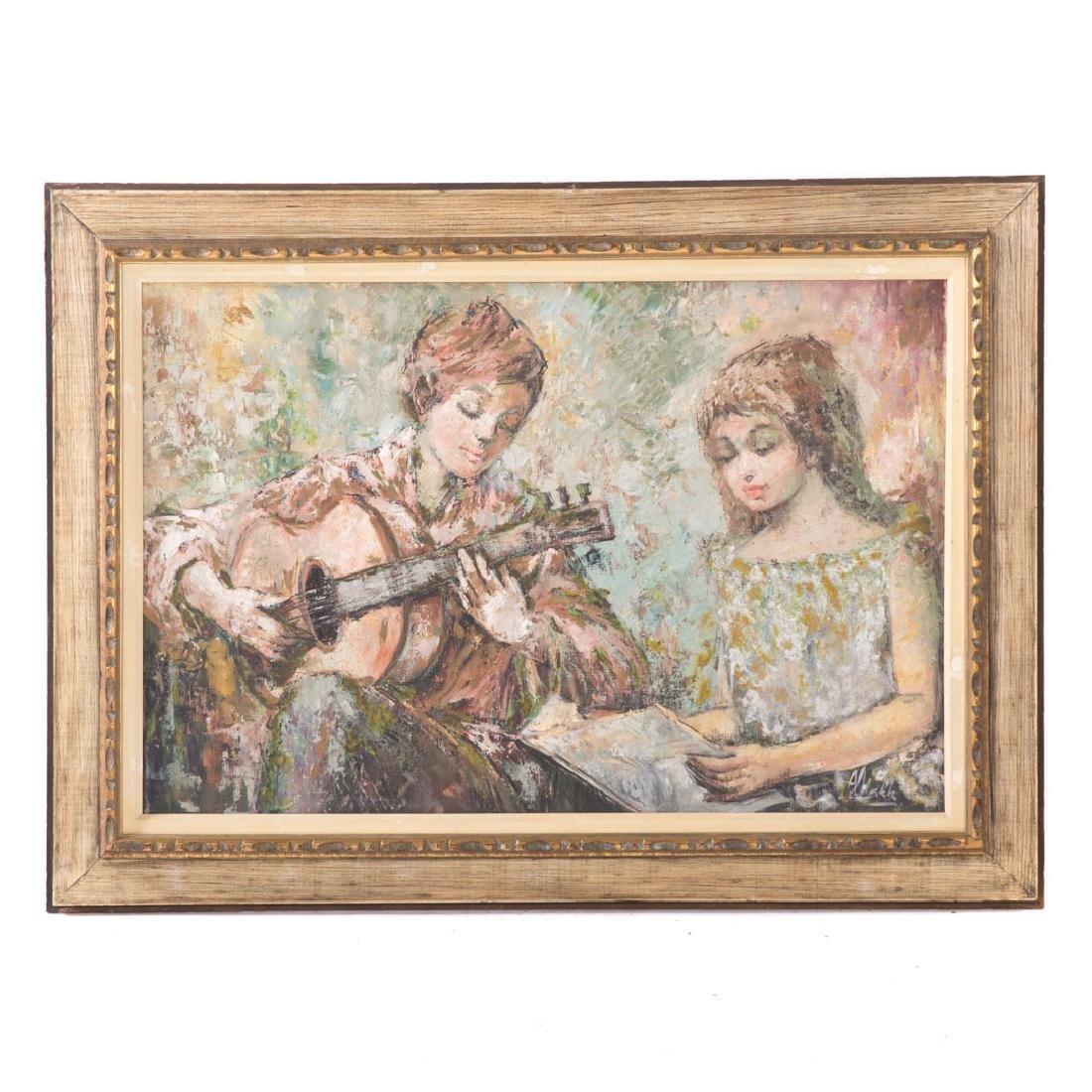 """Americo Makk. """"Folk Singer,"""" oil on canvas"""