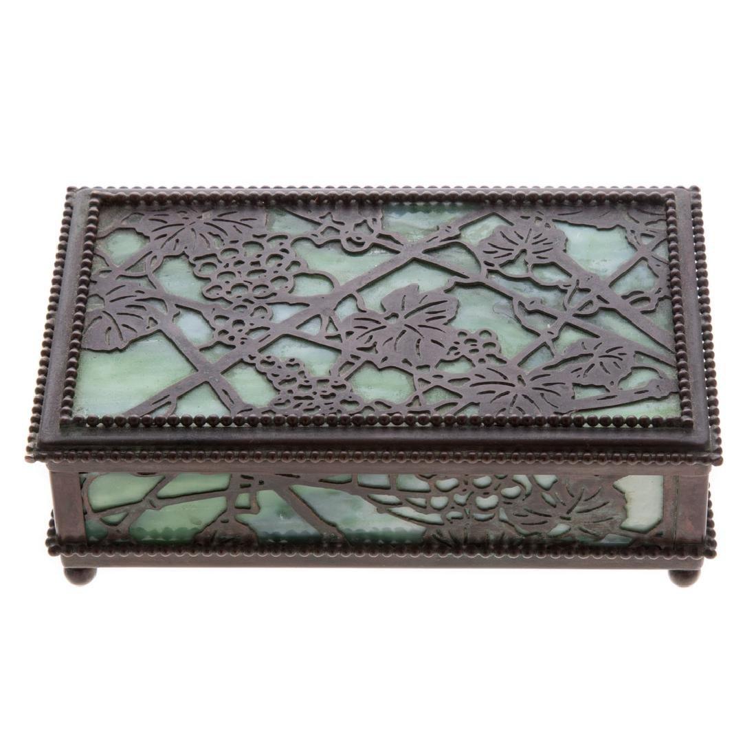 American Art Nouveau bronze/glass desk box