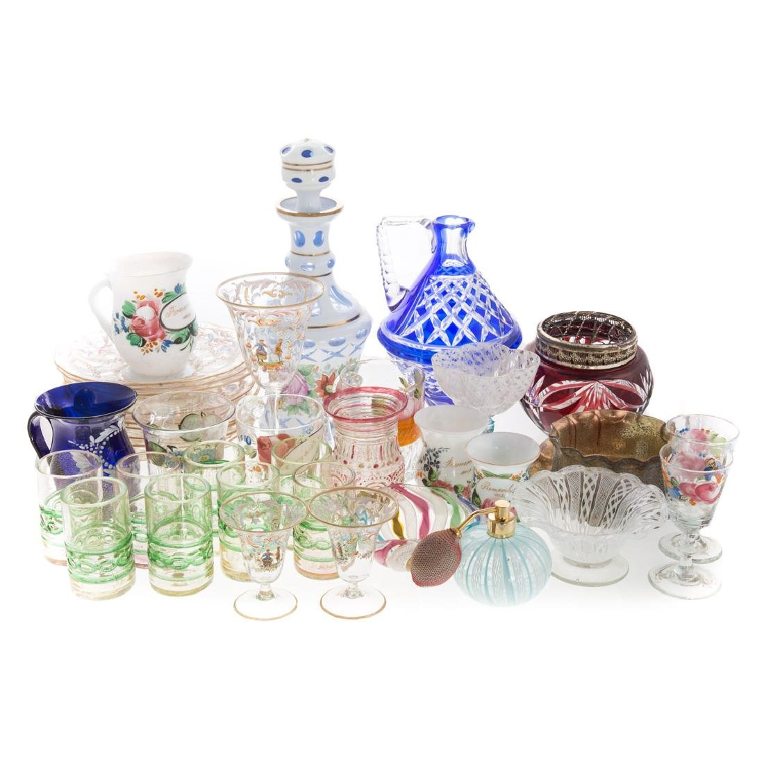 36 pieces of assorted Continental glass