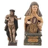Two Christian wood devotional figures