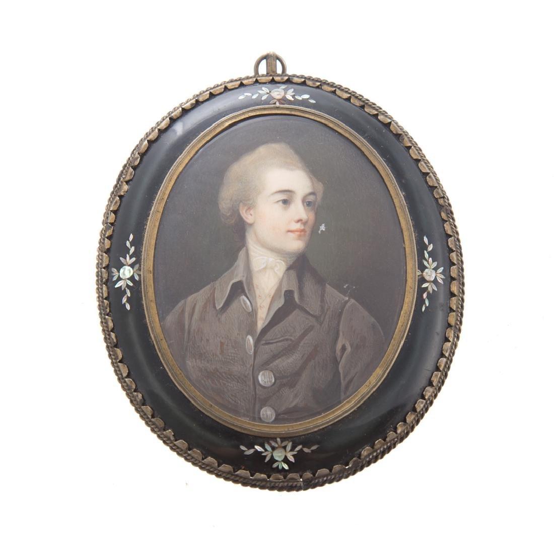 American School 18th century portrait miniature