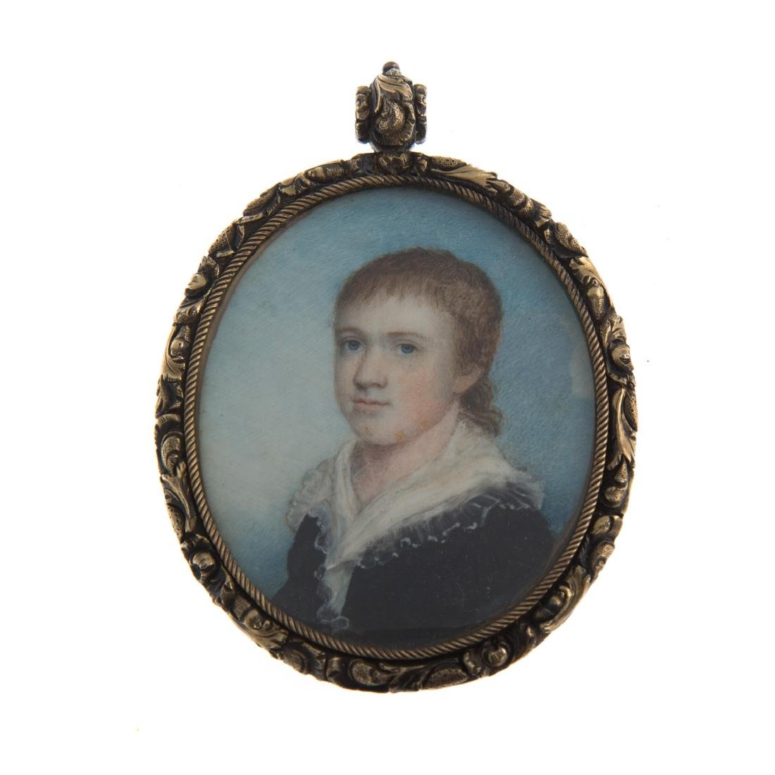 American School. Miniature portrait of a youth