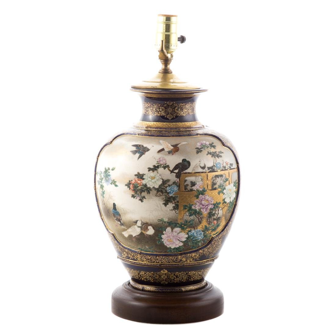 Japanese Satsuma earthenware vase lamp