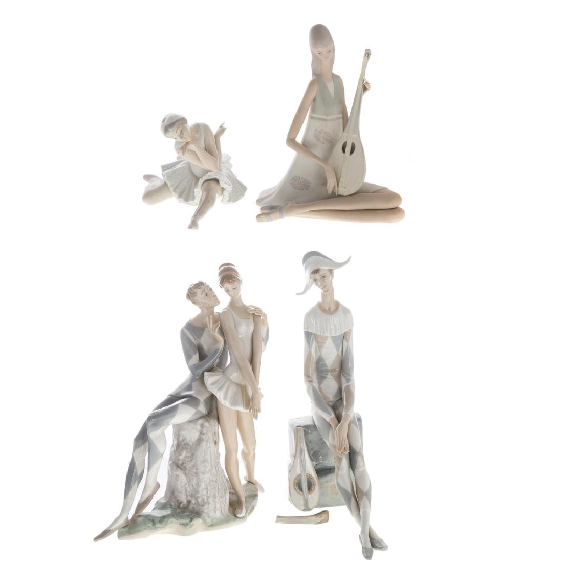 Four Lladro porcelain groups and figures