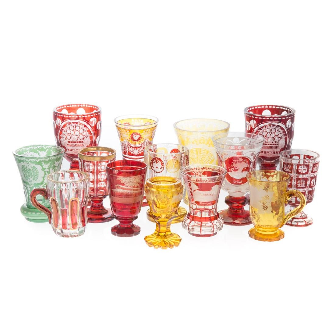 14 Bohemian acid etched colored glasses