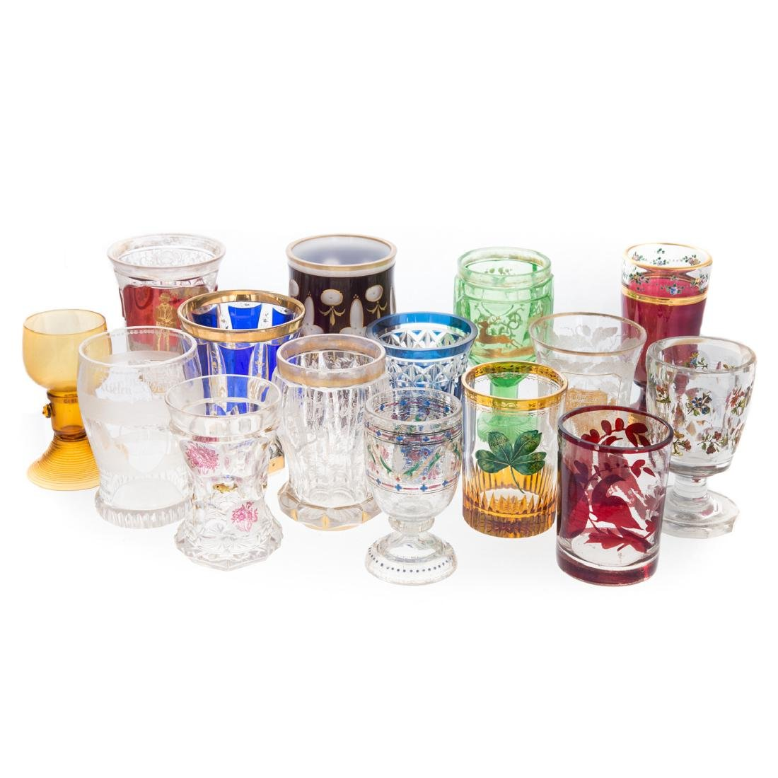 12 Continental and Bohemian colored glasses