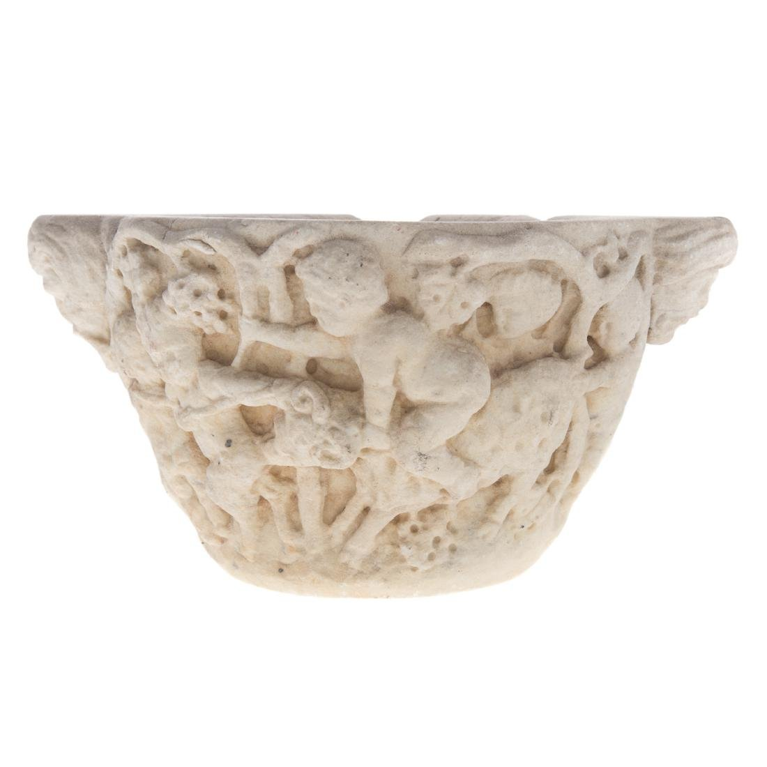 Greco-Roman carved marble wine vessel