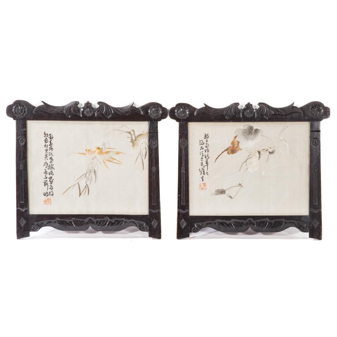 Pair Chinese silk needlework bird pictures