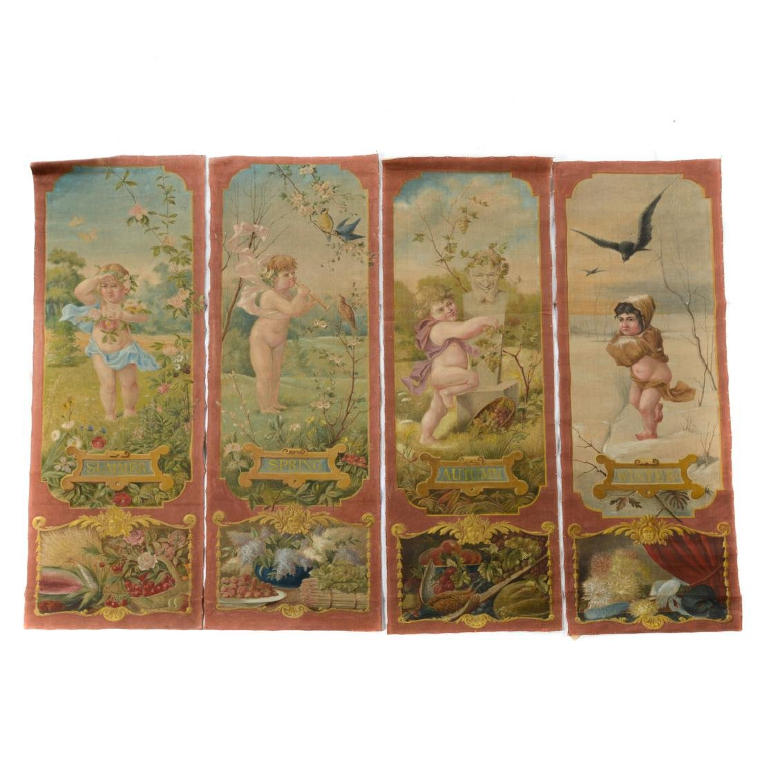 """Four hand-painted panels: """"The Four Seasons"""""""