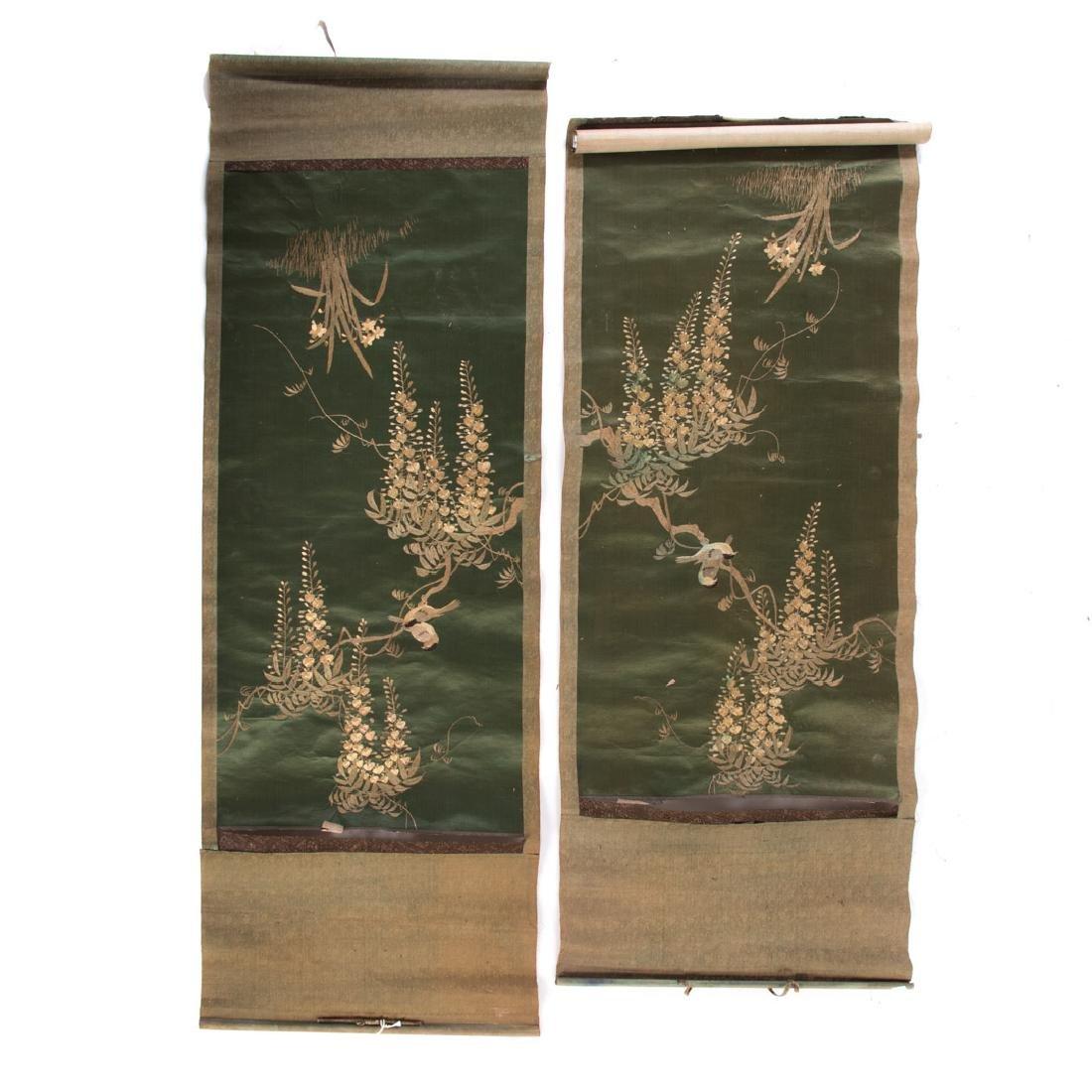 Pair Chinese silk needlework scrolls